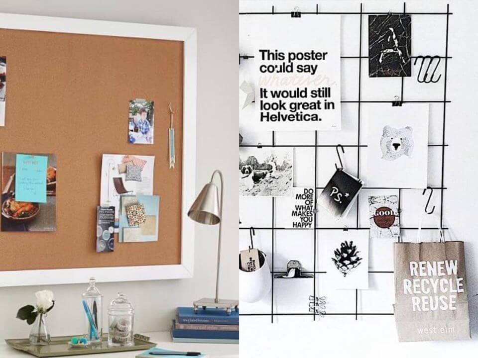 Pinboard and wire board for reminders or deco