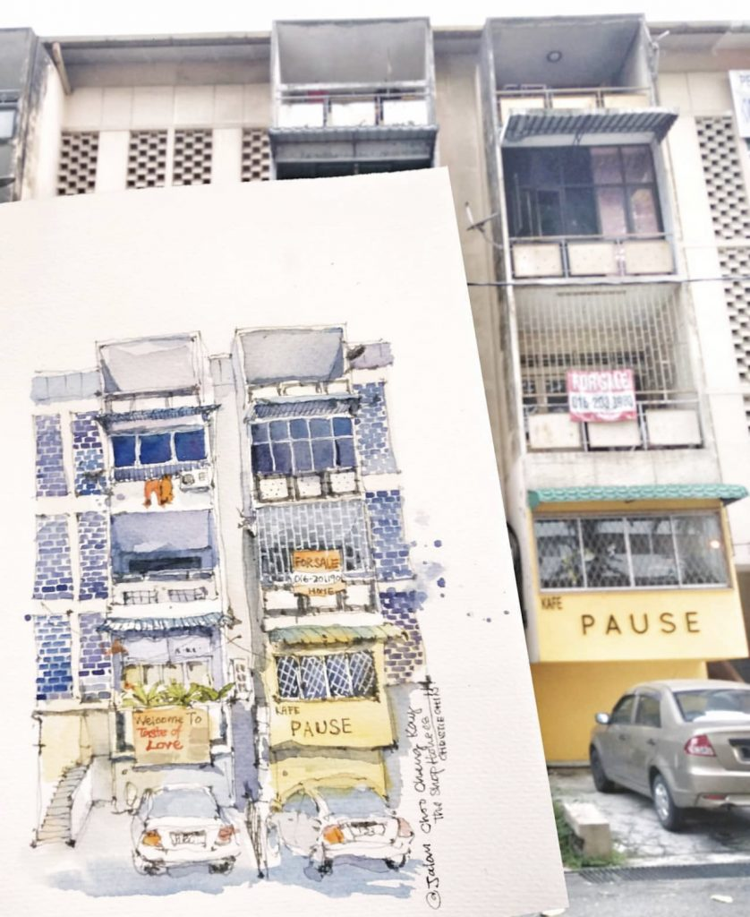 Artwork of the old shops at Jalan Choo Cheng Khai