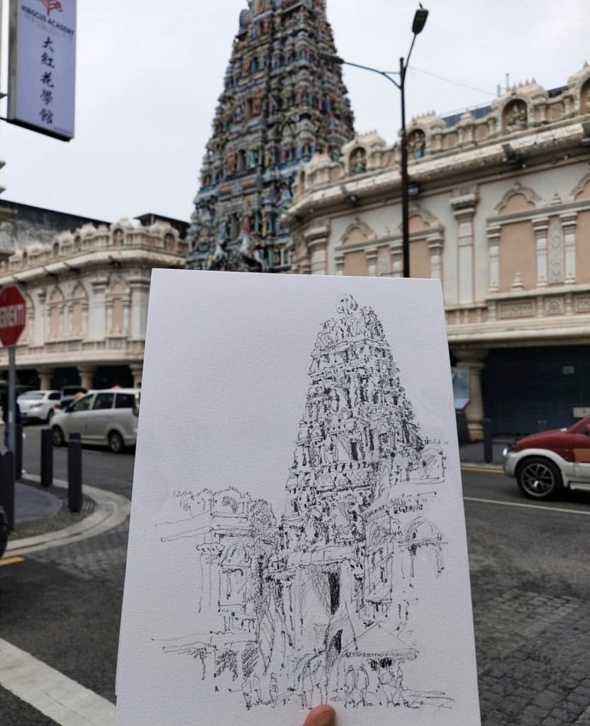 a sketch of the Sri Maha Mariamman temple