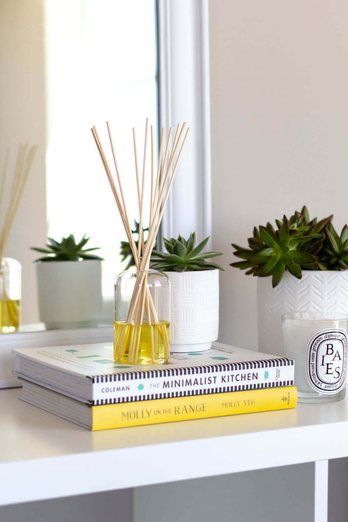 Reed diffuser on desk to boost productivity