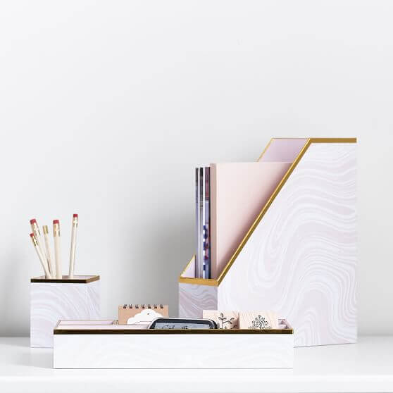 Marble accessories set on desk